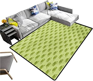 """Hedgehog Indoor Floor Mat Australian Spiny Mammal Characters Going to Opposite Directions Playmat Rug Pistachio and Lime Green (4'7""""x6'6"""")"""