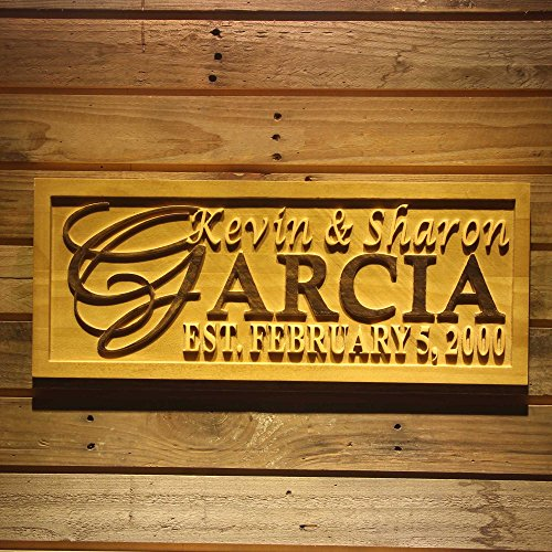 ADVPRO wpa0004 Personalized 5 Year Wood Wedding Custom Surname Initial Rustic Home Décor Marriage Wooden Signs - Large 26.75