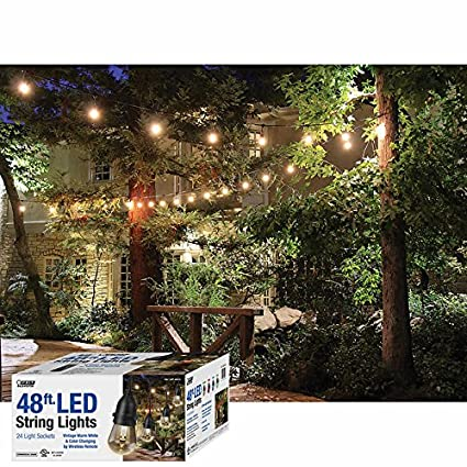 Amazon 48 feet led outdoor weatherproof color changing string 48 feet led outdoor weatherproof color changing string light set in black with heavy duty workwithnaturefo