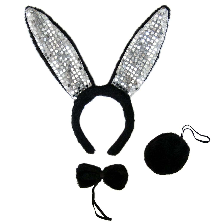Amazon.com: SeasonsTrading Black Plush Sequin Bunny Ears Costume ...