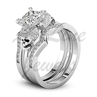 Amazon Com Artline Jewels White Diamond Wedding Skull Engagement