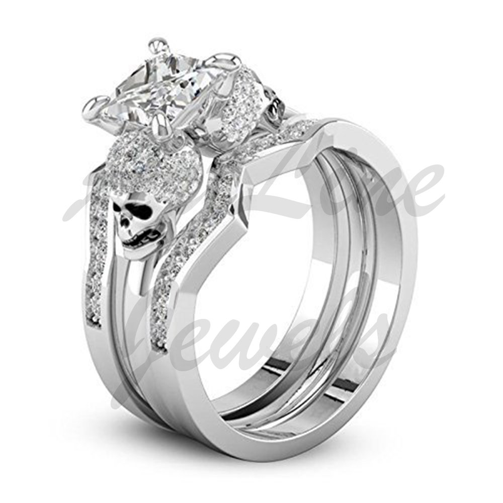 ArtLine Jewels White Diamond Wedding Skull Engagement Trio Ring Set In 14k White Gold Finishing