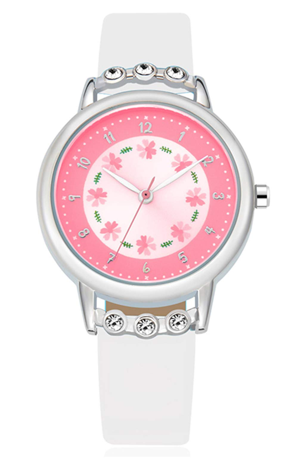 WUTAN Girls Watch Adorable White Leather Strap Wrist Band Flowers Dial with Diamond Cute Watch for Girls Casual Waterproof Wristwatches for Kids by WUTAN