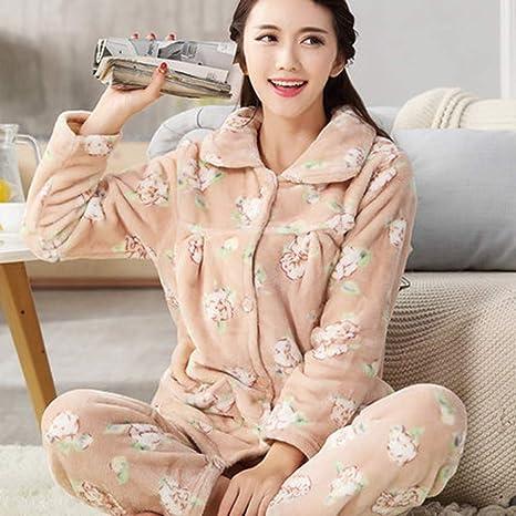 5eb8a5700d9a SALICEHB Mujeres Pijamas De Otoño Establece Cuello Turn-Down Femenino Ropa  De Dormir Completa para