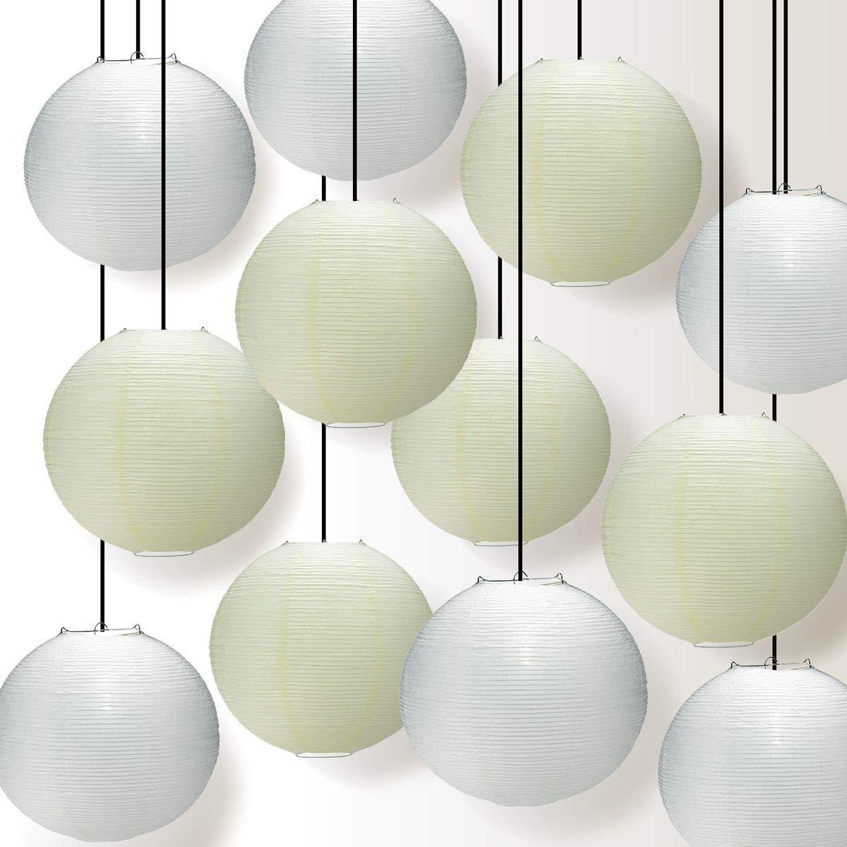 Quasimoon PaperLanternStore.com Premium 12-Piece Fine Line White and Beige Paper Lantern Party Pack Set