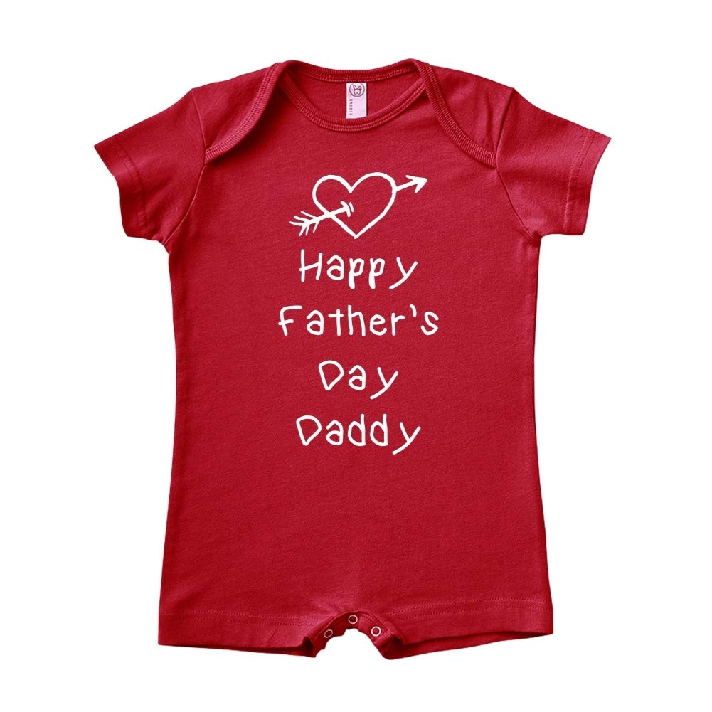 Baby Romper Happy Fathers Day Daddy Heart and Arrow