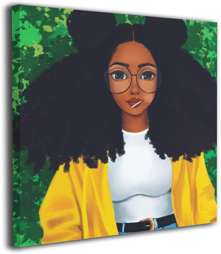 """Ale-art Melanin Black Girl Women Glasses Modern Canvas Painting Wall Art Pictures for Home Decoration Print On Canvas Giclee Artwork Wall Decor 12""""x12"""""""