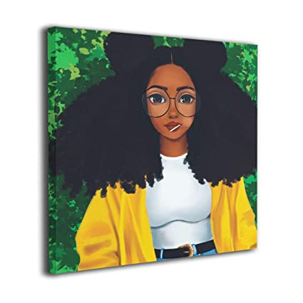 ddca79d10873 Ale-art Melanin Black Girl Women Glasses Modern Canvas Painting Wall Art  Pictures for Home