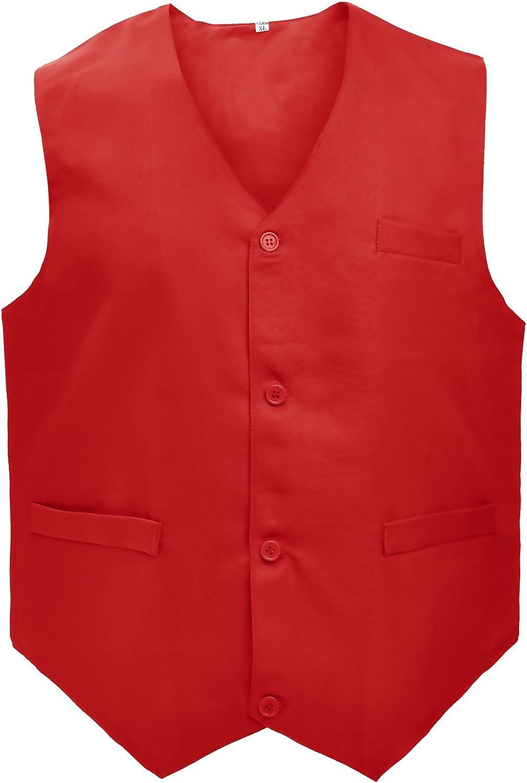 TOPTIE Waiter Uniform Unisex Button Vest for Supermarket Clerk & Volunteer at  Men's Clothing store