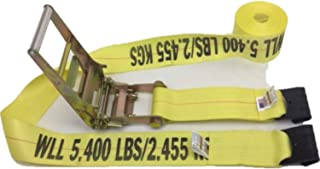 """product image for 2-Pack of 4"""" x 30' Flatbed Cargo Straps and Ratchet Assembly with Flat Hooks Made in USA (Yellow)"""