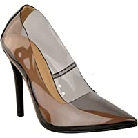 Fashion Thirsty Womens Ladies Perspex Clear Court Shoes Stiletto High Heels Kim K Pumps Size
