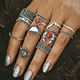 by lucky Vintage 14pcs/set Silver Punk Gems Band Ring Women Retro Finger Rings Boho Style