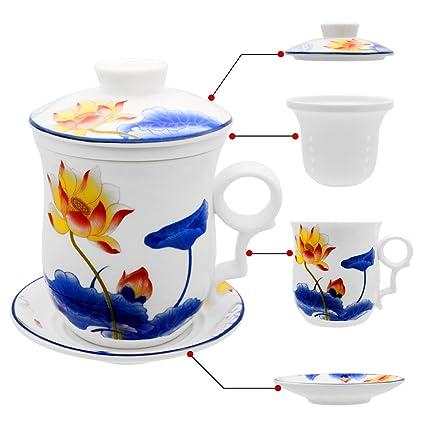 De À Tasse Chinoise CouvercleSoucoupeFiltre En Avec Porcelaine Jingdezhen Hollihi Thé 3ALRj54
