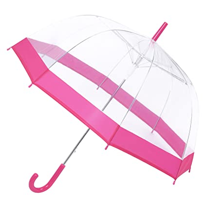 e9a1d833cf4ef ASAB Clear Dome See Through Umbrella - Windproof Automatic - Strong,  Lightweight, Transparent, Waterproof - (Pink): Amazon.co.uk: Kitchen & Home