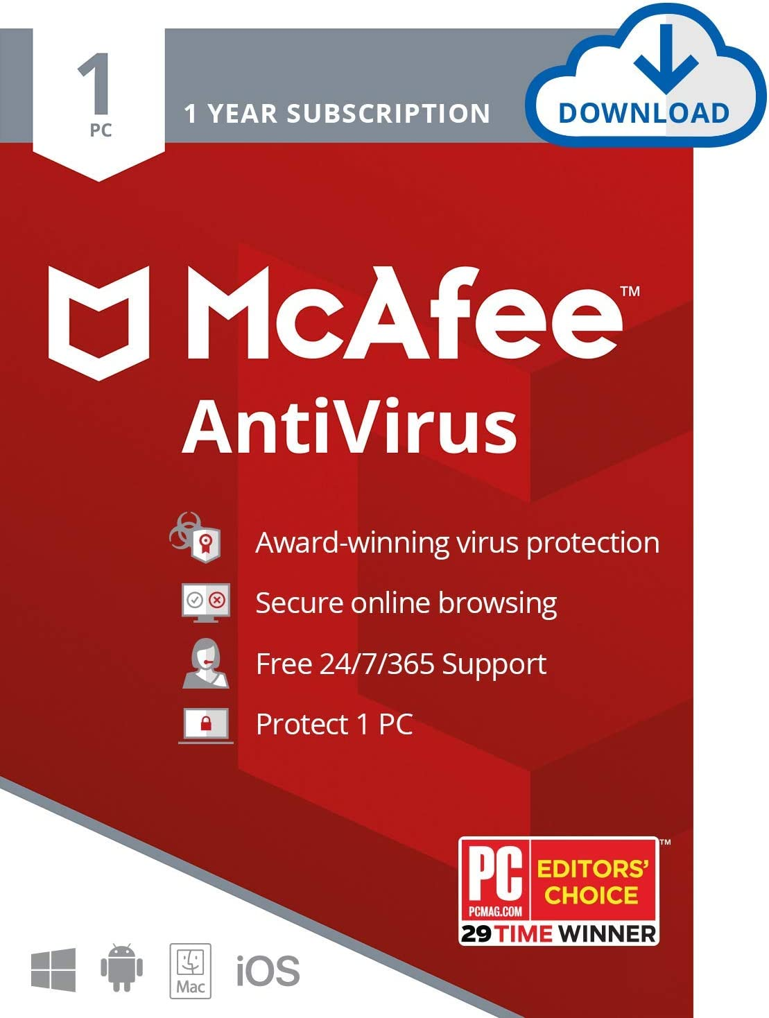 Amazon Com Mcafee Antivirus Protection 2020 1pc Internet Security Software 1 Year Download Code Software