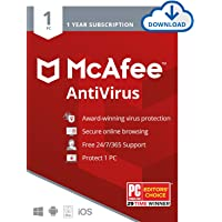 McAfee AntiVirus Protection 2020, Internet Security Software, 1PC, 1 Year - Download Code