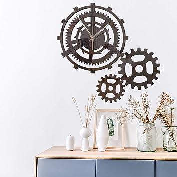 Beau 3D Stickers Muraux Rétro Industriel Engrenage À Vent Personnalité Créative  Horloge Murale Salon Diy Mute Horloge
