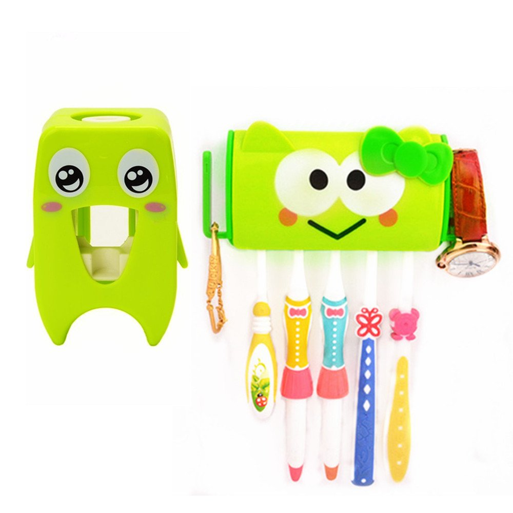 FILY Hands Free Toothpaste Dispenser Automatic Toothpaste Squeezer and Toothbrush Holder Set, Multi-Function Cartoon Animal Shape Brushing Supplies Storage Rack Wall-Mounted Adhesive Paste
