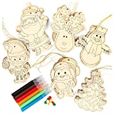 Kid Friendly Decorate Your Own Holiday Christmas Ornament Crafting Kit - Makes 30 Wood Ornaments