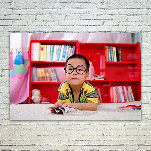 Cream Style Kids Bookcase - Westlake Art Child Glasses - 12x18 Poster Print Wall Art - Modern Picture Photography Home Decor Office Birthday Gift - Unframed 12x18 Inch (D7FB-6099B)