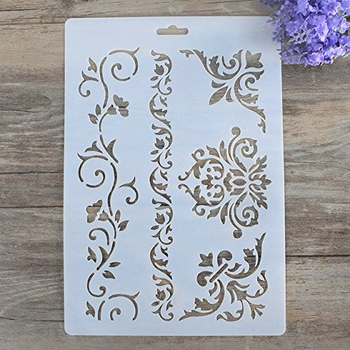 Ofcio DIY Videira Flor Camadas Damasco Stencils Para Paredes Pintura lbum de Scrapbooking Stamping Artesanato Cartes De Papel Decorativo
