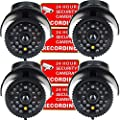 VideoSecu 4 x Dummy Security Camera Fake Bullet Cameras Infrared LEDs Flashing Light Home CCTV Surveillance 1QU from VideoSecu