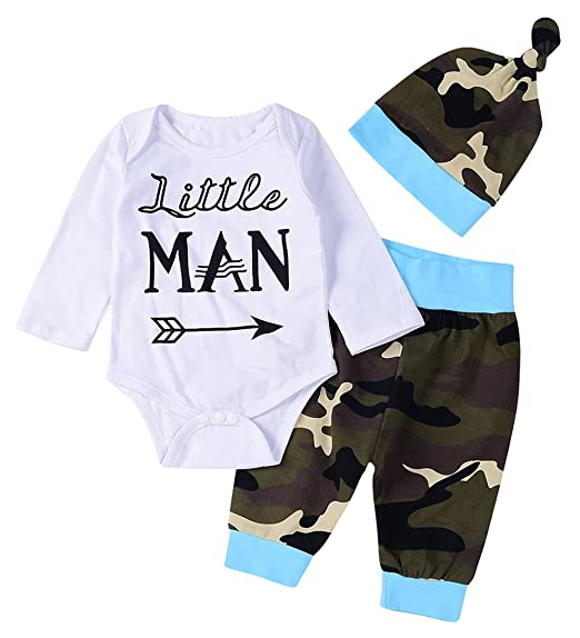 c0289a53fa0a 3Pcs Baby Boys Clothing  quot Little Man quot  Printed Camouflage Romper  Tops+Long Pants+
