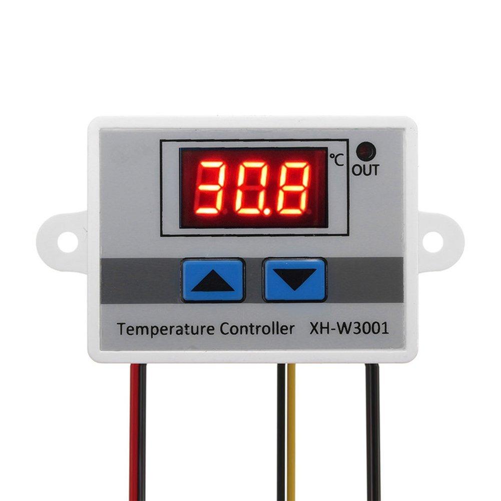KKmoon XH-W3001 Controlador de temperatura digital LED pre-cable de frí o/caliente Termostato interruptor de control con sensor 220V / 24V / 12V IFMSSVHU752