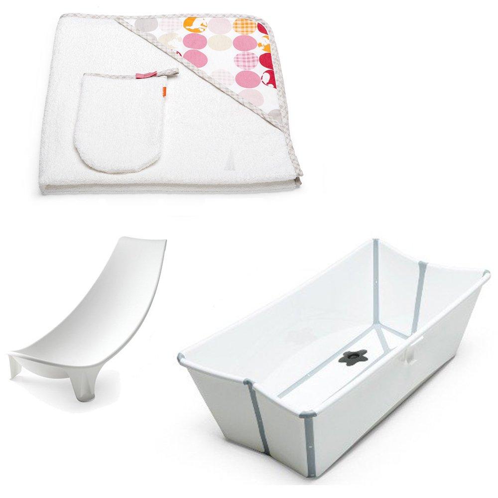 Stokke Flexi Bath w Stokke Hooded Towel, Silhouette Pink & Newborn Support (White)