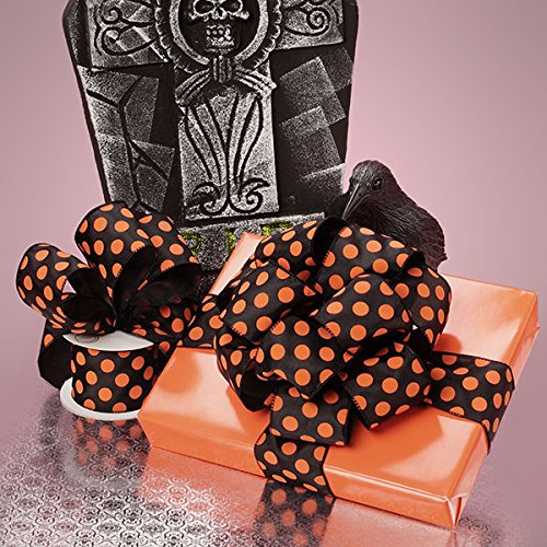 Premium Halloween Wire Ribbon - 2 1/2 Inches by 10 Yards (Black with Orange - Polka Dot Halloween