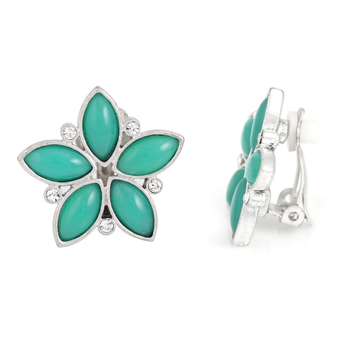 Jewlery11 Silver-Tone Metal Green Agate Flower Clip On Earrings Gift For Her