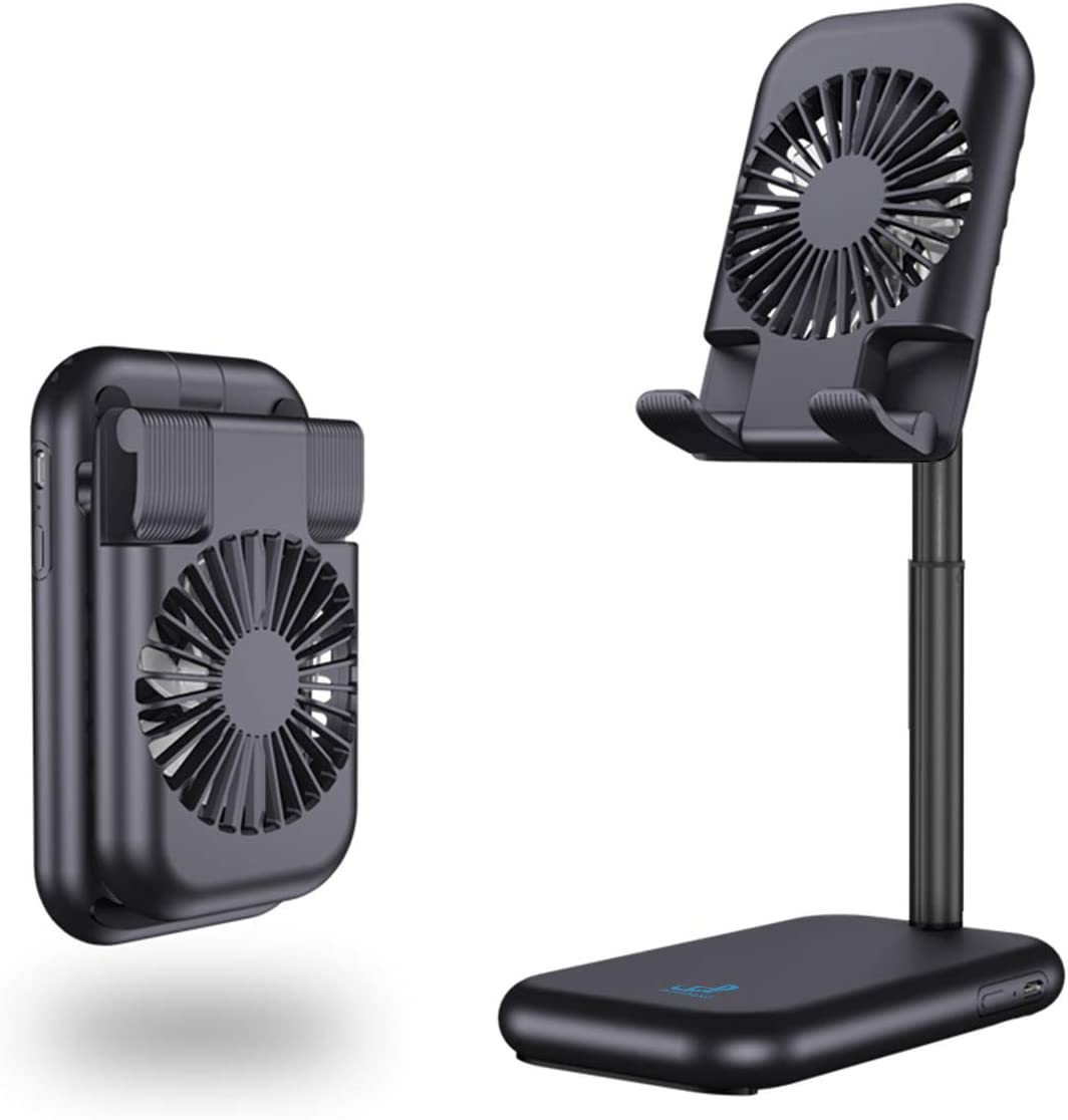 Air Circulator Desk Fan,Rechargeable&Portable Fan Phone/Pad Stand USB Powered Small Handheld Fan Mini Cooling Table Mini Personal Fan for Men Women Home Office Outdoor Travel(Black)