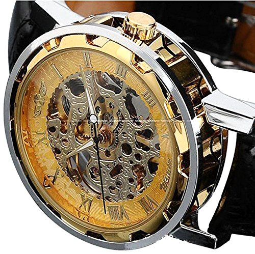 Men's Mechanical Elegant Skeleton Dial Wrist Watch, (Gold-black) ()