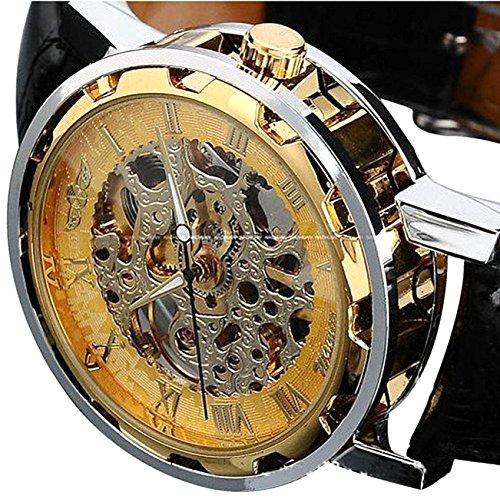 Men's Mechanical Elegant Skeleton Dial Wrist Watch, (Gold-black)