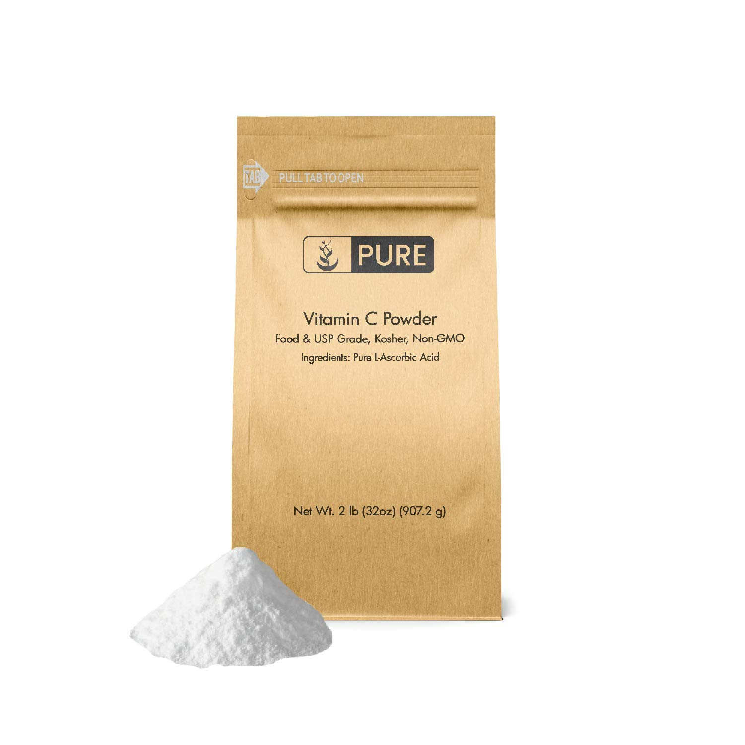 Vitamin C Powder (2 lb.) by Pure Organic Ingredients, Eco-Friendly Packaging, L-Ascorbic Acid, Antioxidant, Boost Immune System, DIY Skin Care by Pure Organic Ingredients