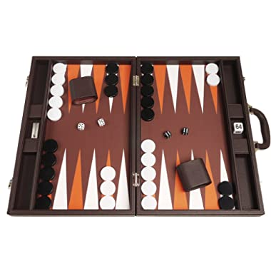 19-inch Backgammon Set - Dark Brown Board