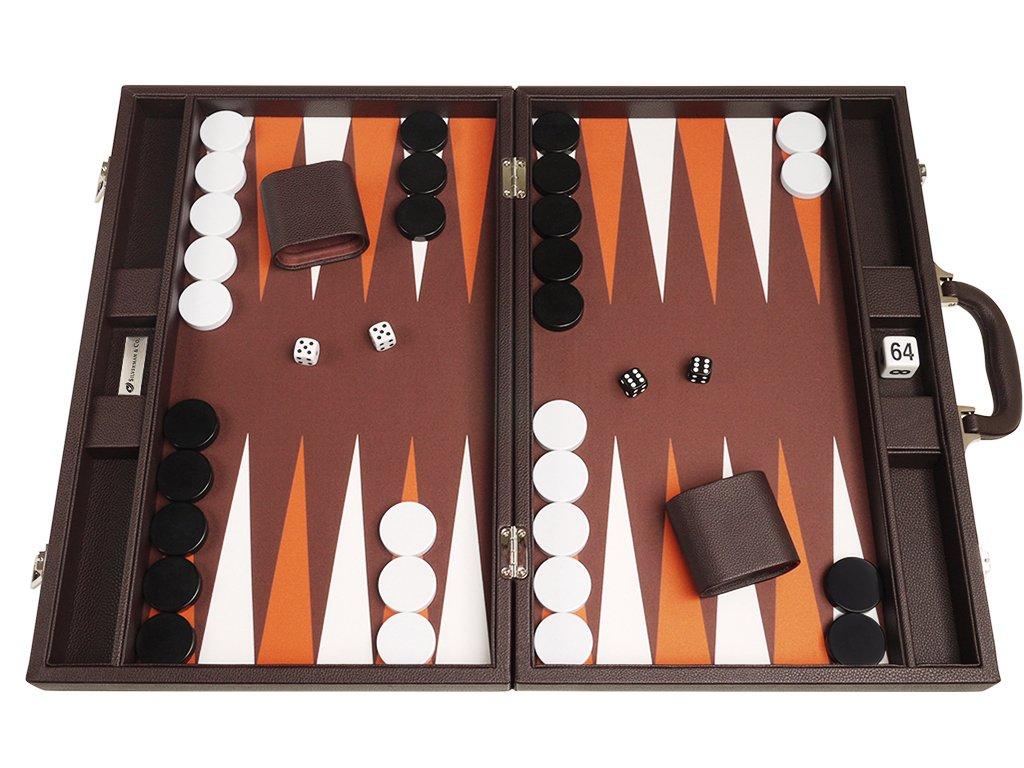 19-inch Backgammon Set - Dark Brown Board
