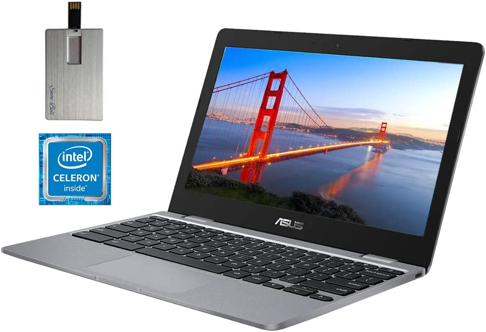 "2020 ASUS Chromebook 11.6"" HD Laptop Computer, Intel Celeron N3350 Dual-core Processor, 4GB RAM, 16GB eMMC, HD Webcam, Intel HD Graphics 500, USB-C, Bluetooth, Chrome OS, Gray, 128GB SnowBell USB Card"