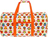 SilverHooks Womens 22'' Duffle Carry On Travel Bag (Owl w/Orange Trim)