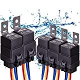 5 PACK 40/30 AMP Automotive Waterproof Relay Switch Set - Heavy Duty 12 AWG Wire Harness 12V DC 5-PIN SPDT Bosch Style Car Relays with Interlocking Socket Holder Block 12 Gauge Pigtails Wires