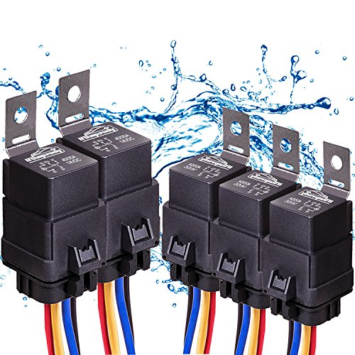 5 PACK 40/30 AMP Automotive Waterproof Relay Switch Set - Heavy Duty 12 AWG Wire Harness 12V DC 5-PIN SPDT Bosch Style Car Relays with Interlocking Socket Holder Block Pigtails Wires ,2Yr Warranty