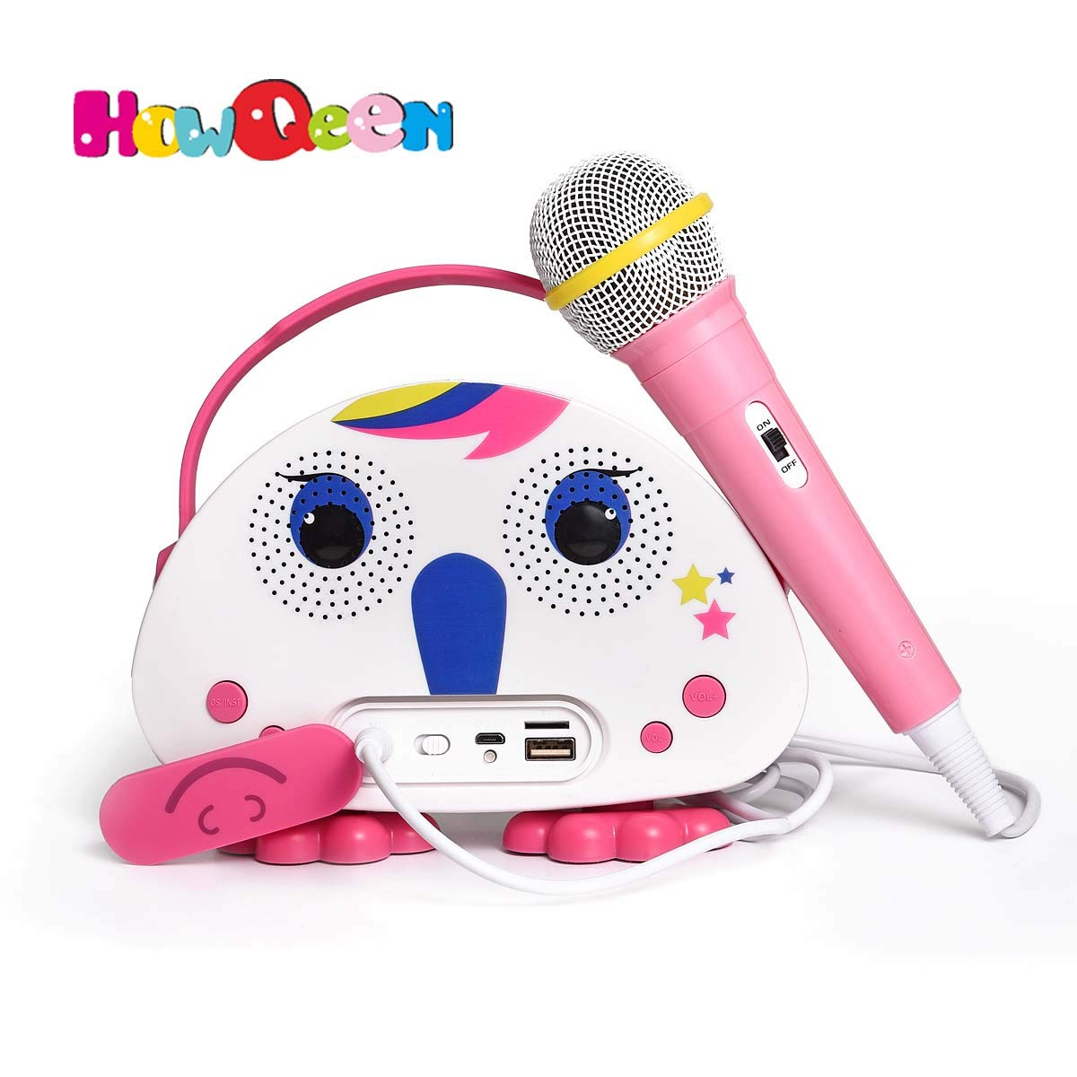 HowQ Outdoor Toys Karaoke Machine , Portable Kids Karaoke Bluetooth Speaker Wireless Cartoon Speaker for Kids for Indoor Toys Travel Activities with Microphone Karaoke Machine(Pink-White)