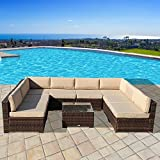 Super Patio Outdoor Furniture, 9 Piece All-Weather Brown Wicker Rattan Sectional Sofa Set with Beige Cushions & Glass Coffee Table,Steel Frame For Sale