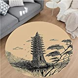 Nalahome Modern Flannel Microfiber Non-Slip Machine Washable Round Area Rug-Tiered Tower Vintage Style Taoist House Of Faith Historical Illustration Pale Brown Black area rugs Home Decor-Round 67''