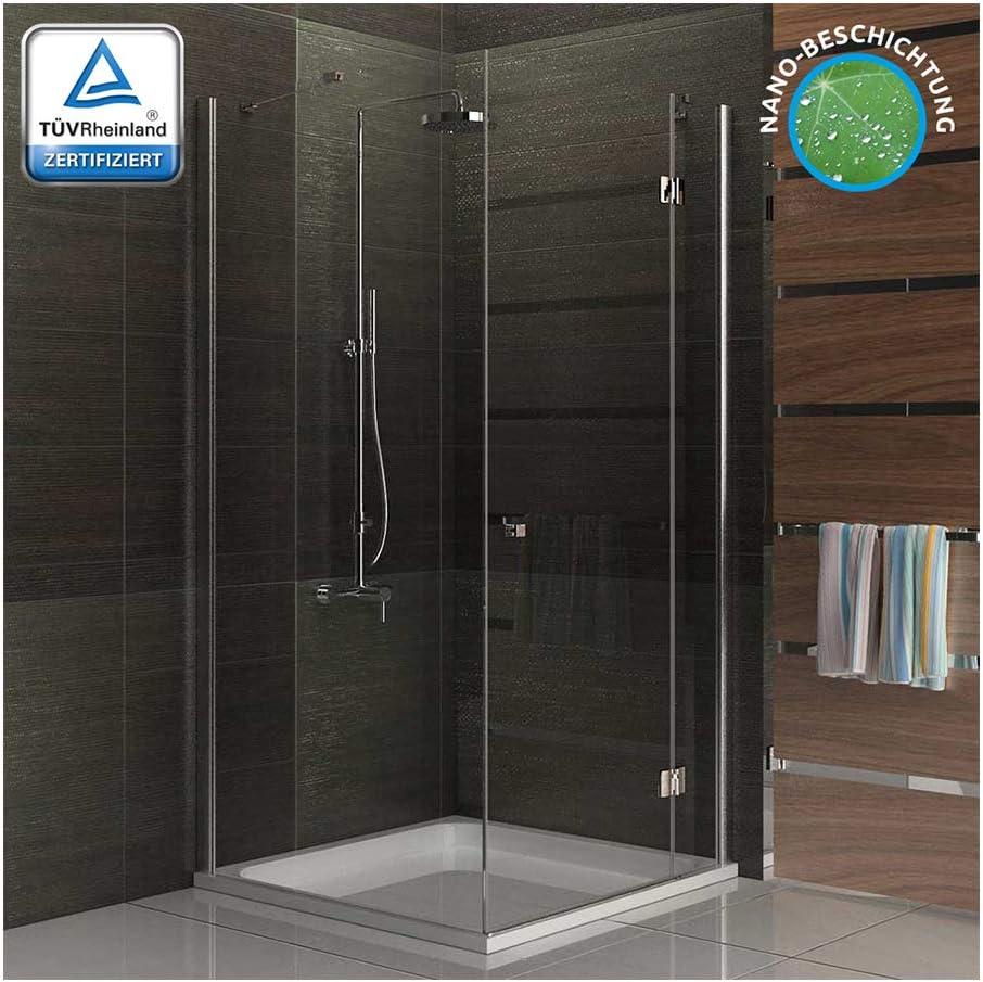 Completamente ducha cuadro entrada por la esquina puerta mampara de 90 x 200 cm funshirt/Alpes Berger modelo Terri Clear/altura 200 cm/cabina de ducha de pared divisoria puertas: Amazon.es: Bricolaje y herramientas