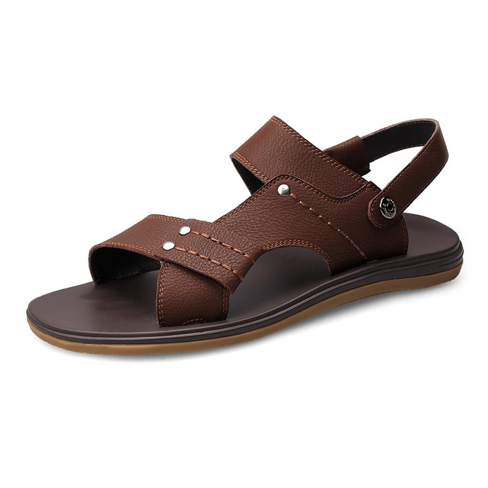 Zapatillas de Playa de Cuero Genuino de los Hombres Sandalias Ocasionales Sandalias Antideslizantes Ajustables sin Respaldo 41 EU|Marrón