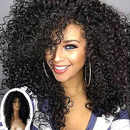 Inkach Clearance Black Curly Wig for Womens Short