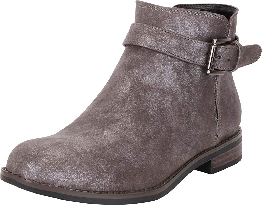 Pewter Pu Cambridge Select Women's Round Toe Buckle Strap Low Stacked Heel Ankle Bootie