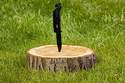 Survival Knife 5-in-1 By Albus Black Tactical Knife with LED Light and Seatbelt Cutter, Glass Breaker, Fire Starter Plus Carry Case. Ideal For Camping, Survival and Any Situation.