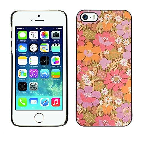 TopCaseStore / caoutchouc Hard Case Housse de protection la Peau - Purple Flowers Pastel Wallpaper - Apple iPhone 5 / 5S